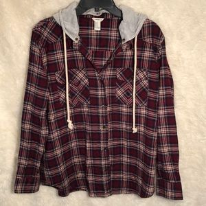 F21 Flannel Shirt w/ Removable Hood